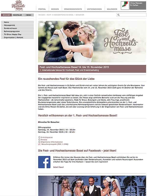 Fest- und Hochzeitsmesse in Basel, Möglichkeiten einer freien Trauung - ein Hochzeitsritual unter freiem Himmel