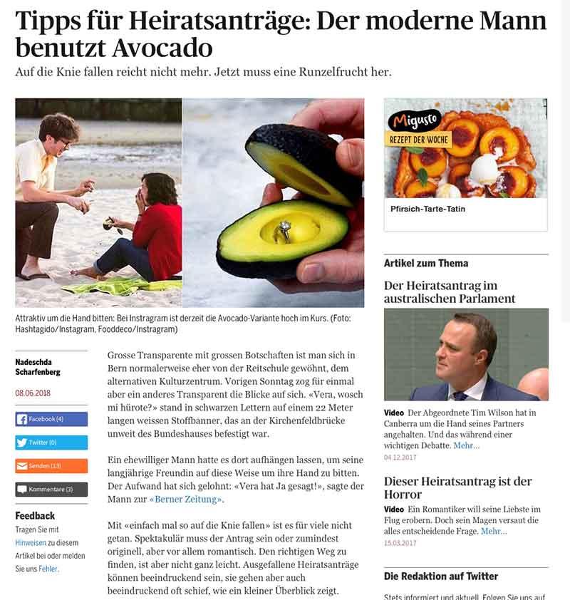 Bild: Zeitungsartikel Heiratsantrag