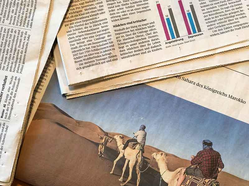Foto zeigt Zeitungsausschnitte, Presseartikel über Rosmarie Brunner
