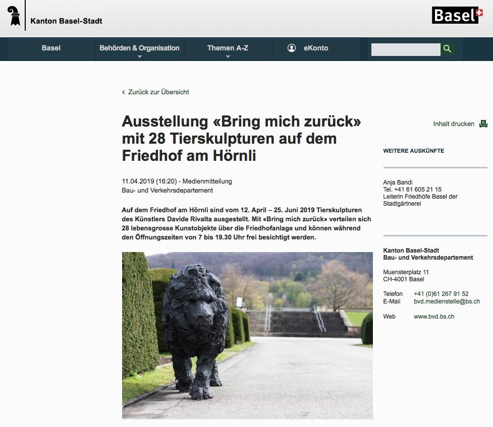 Kunstausstellung von Davide Rivalta auf dem Friedhof Hörnli in Basel/Riehen