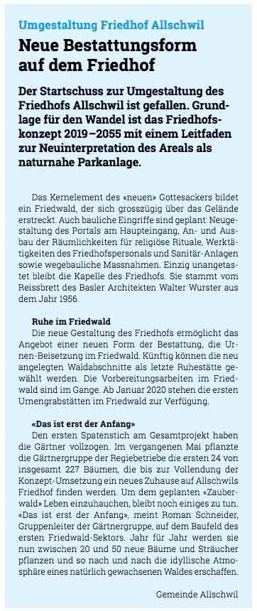 Bild zum Artikel im Neubadmagazin zu einer neuen Bestattungsform: Friedwald