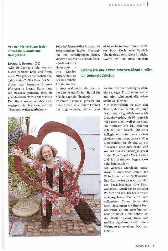 Magazin 50plus, Juni 2014: Von der Pfarrerin zur freien Theologin, Clownin und Gastgeberin