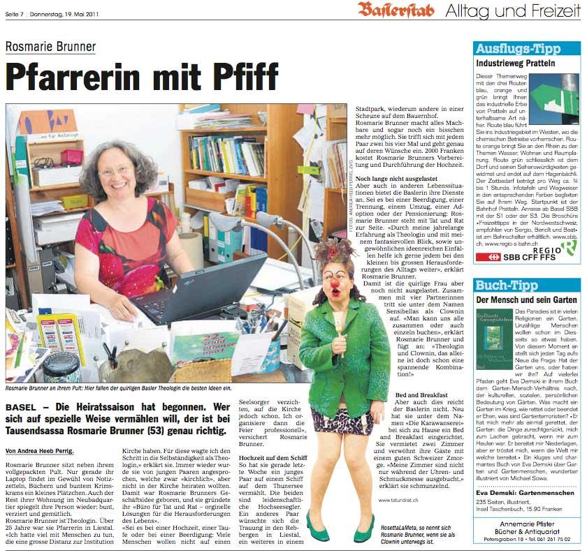 Bild: Zeitungsartikel über Rosmarie Brunner, Theologin/Pfarrerin in Basel