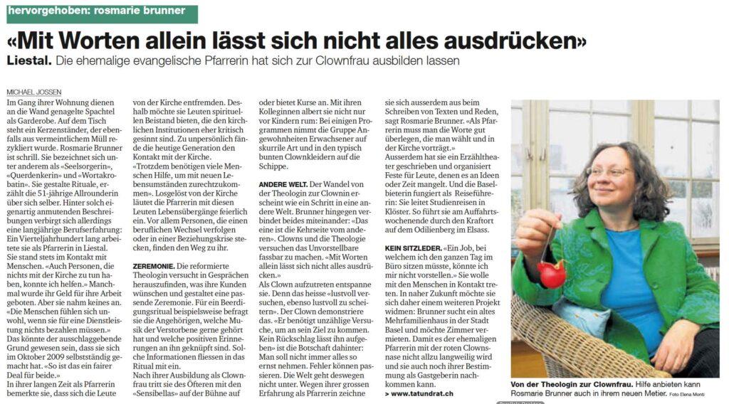 Bild: Zeitungsartikel über Rosmarie Brunner, Theologin in Basel
