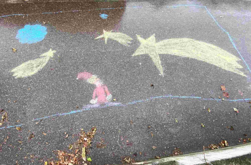 Kinder Kreidezeichnung, Im langen Loh Basel frohe Festtage