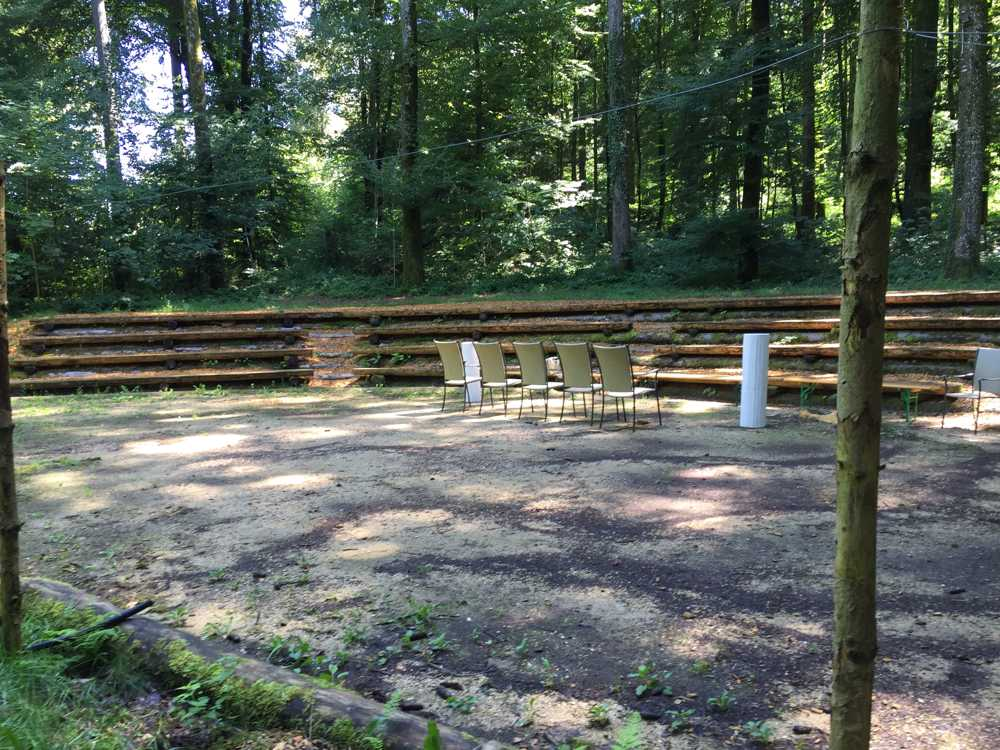 Hochzeitszeremonie, freie Trauung im Wald