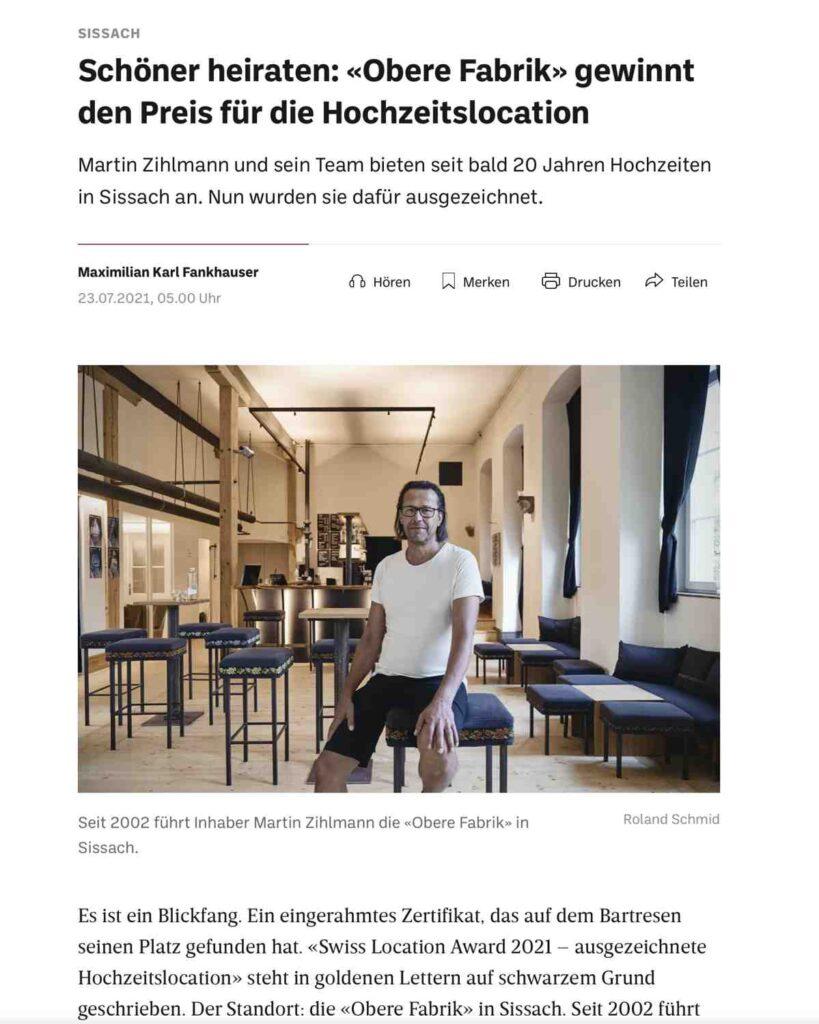 Hochzeitslocation «Obere Fabrik, Sissach»